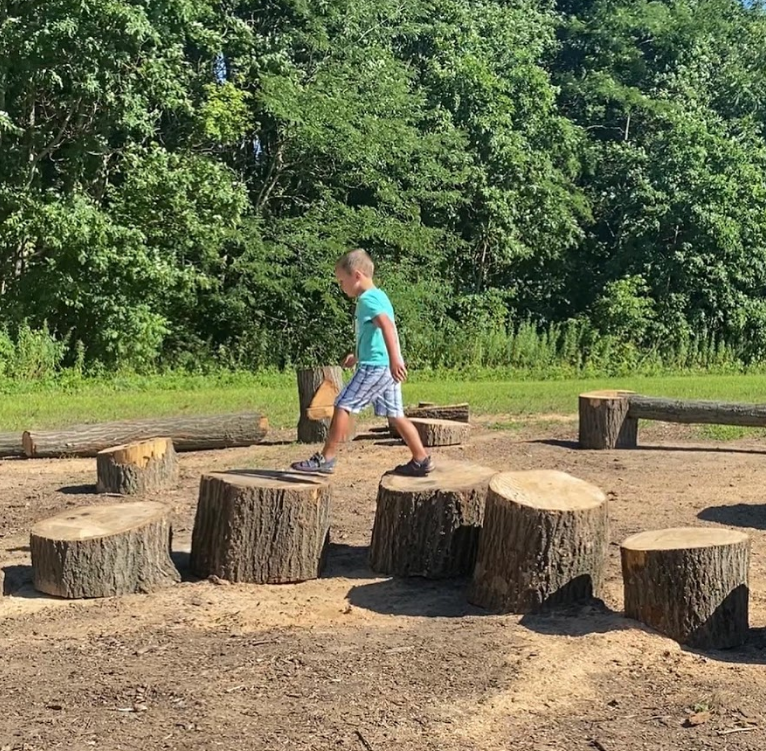 boy playing on logs