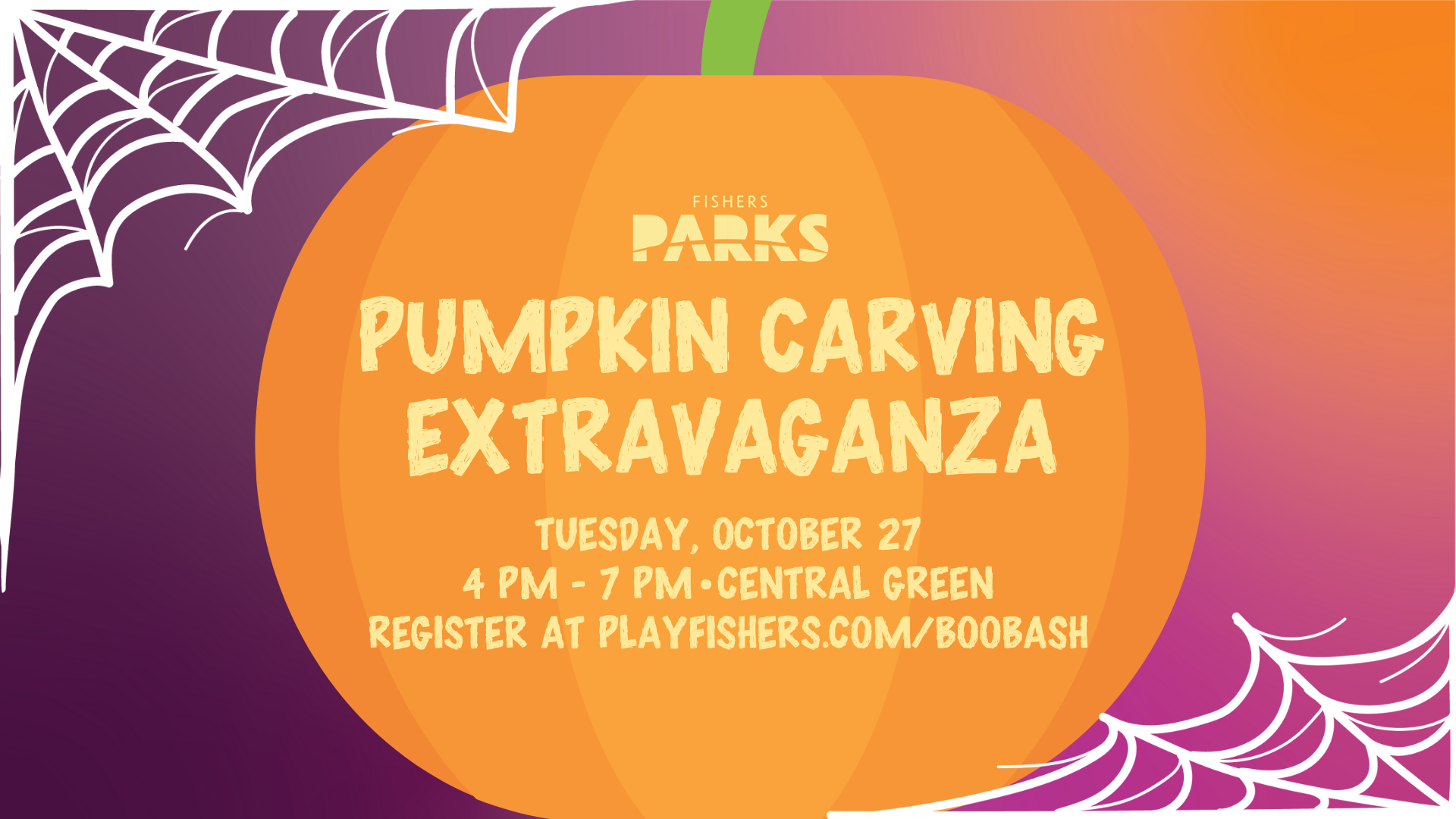 pumpkin carving extravaganza oct 27 4-7pm register at playfishers.com/boobash
