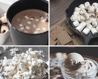 hot cocoa and popcorn