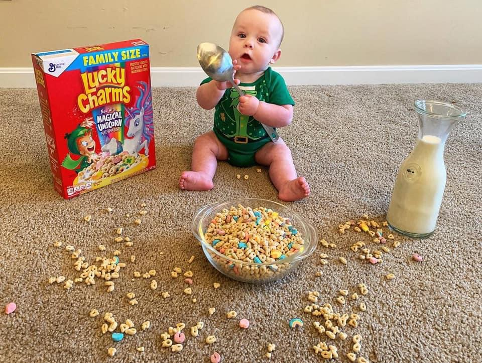 baby eating lucky charms
