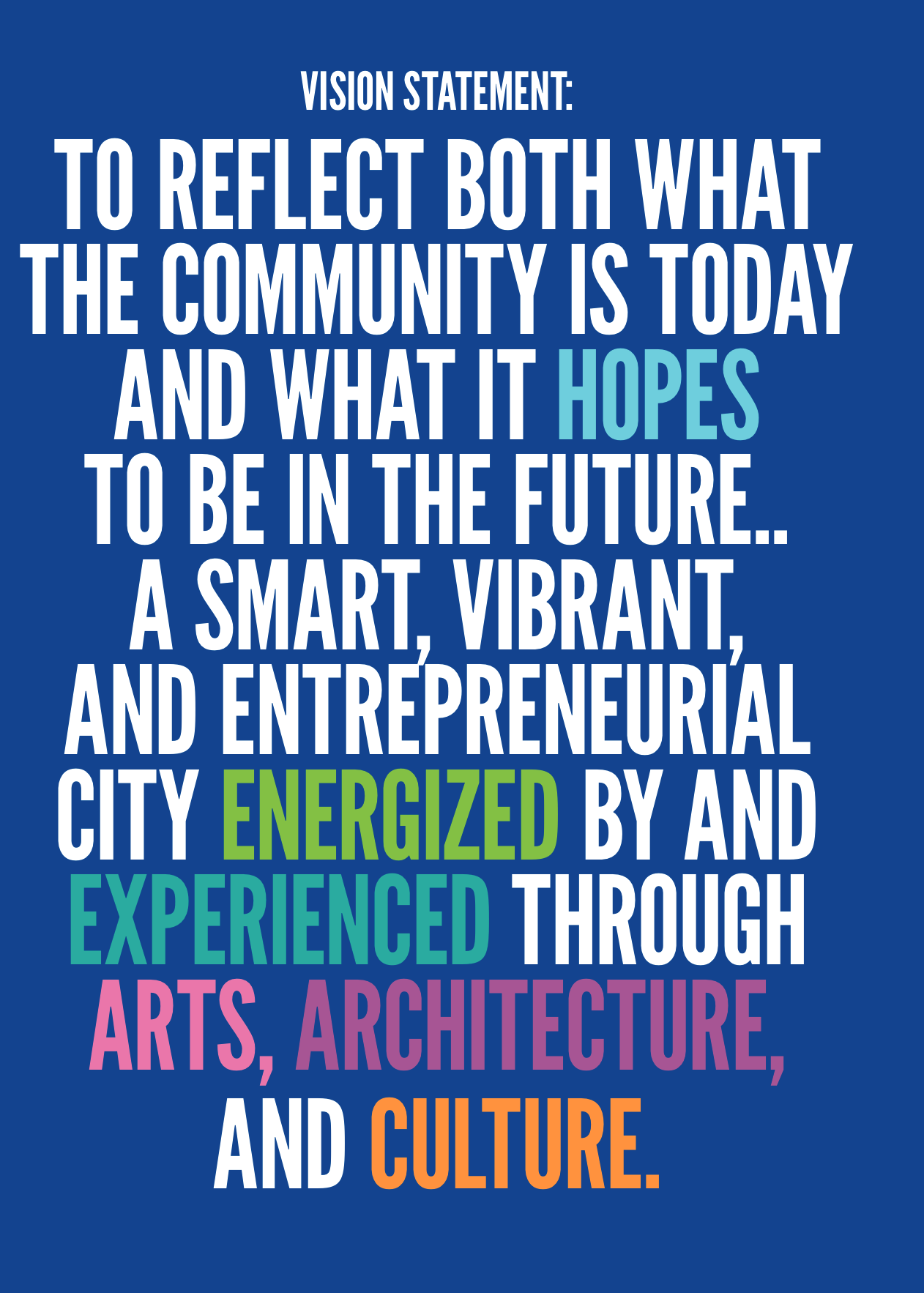 To reflect both what the community is today what it hopes to be in the future… A Smart, Vibrant, and Entrepreneurial City energized by and experienced through Arts, Architecture, and Culture.