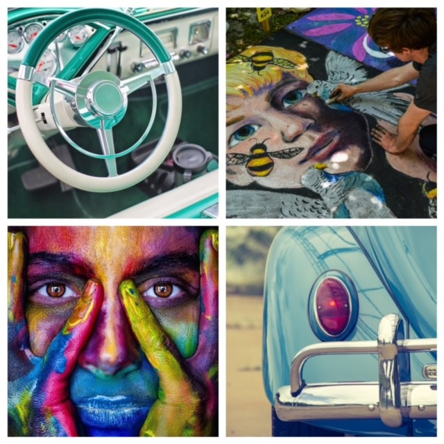 a collage of four photos. top left: a blue and white steering wheel. top right: a person painting a face. bottom left: a painting of a face. bottom right: the back end of a car