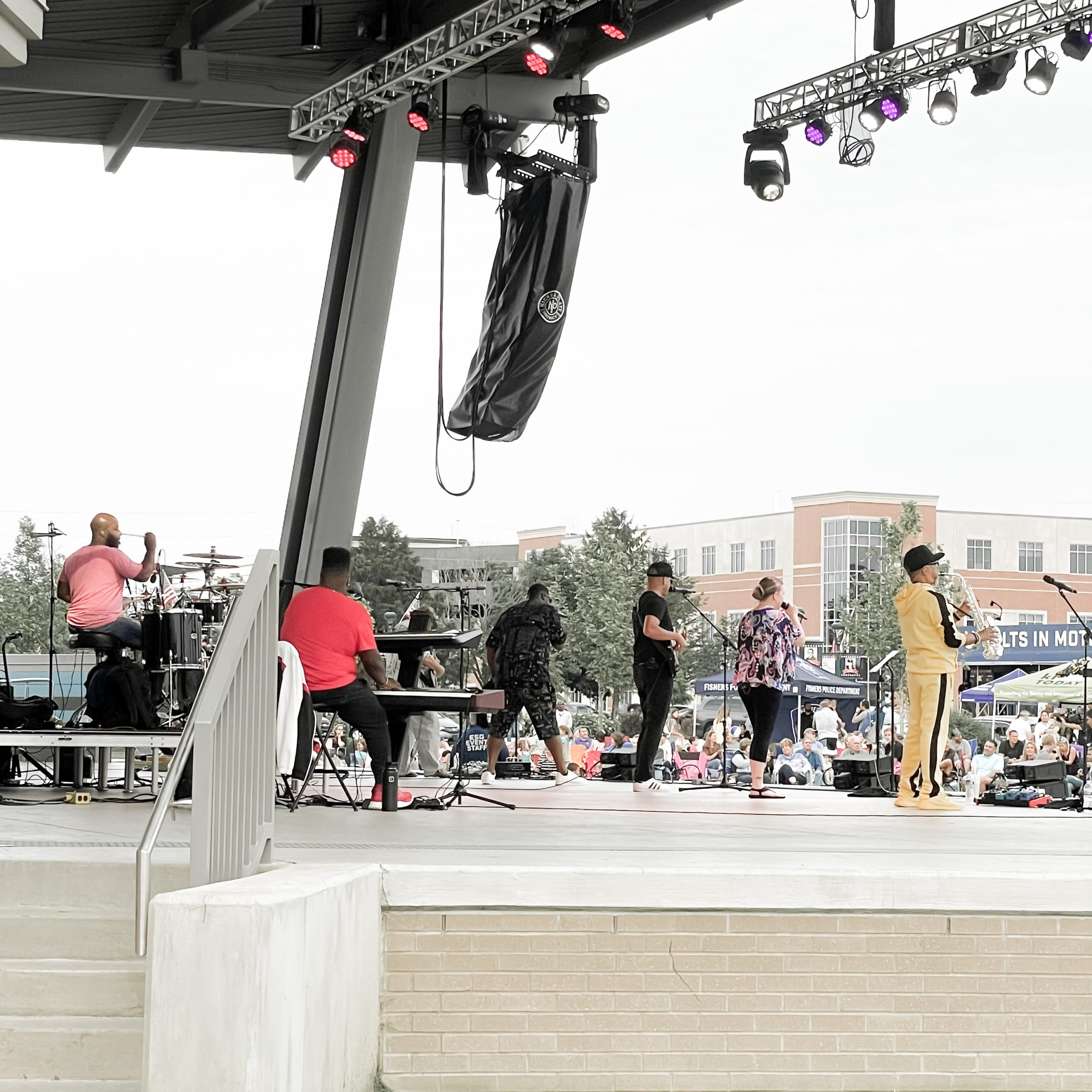 a stage with people performing