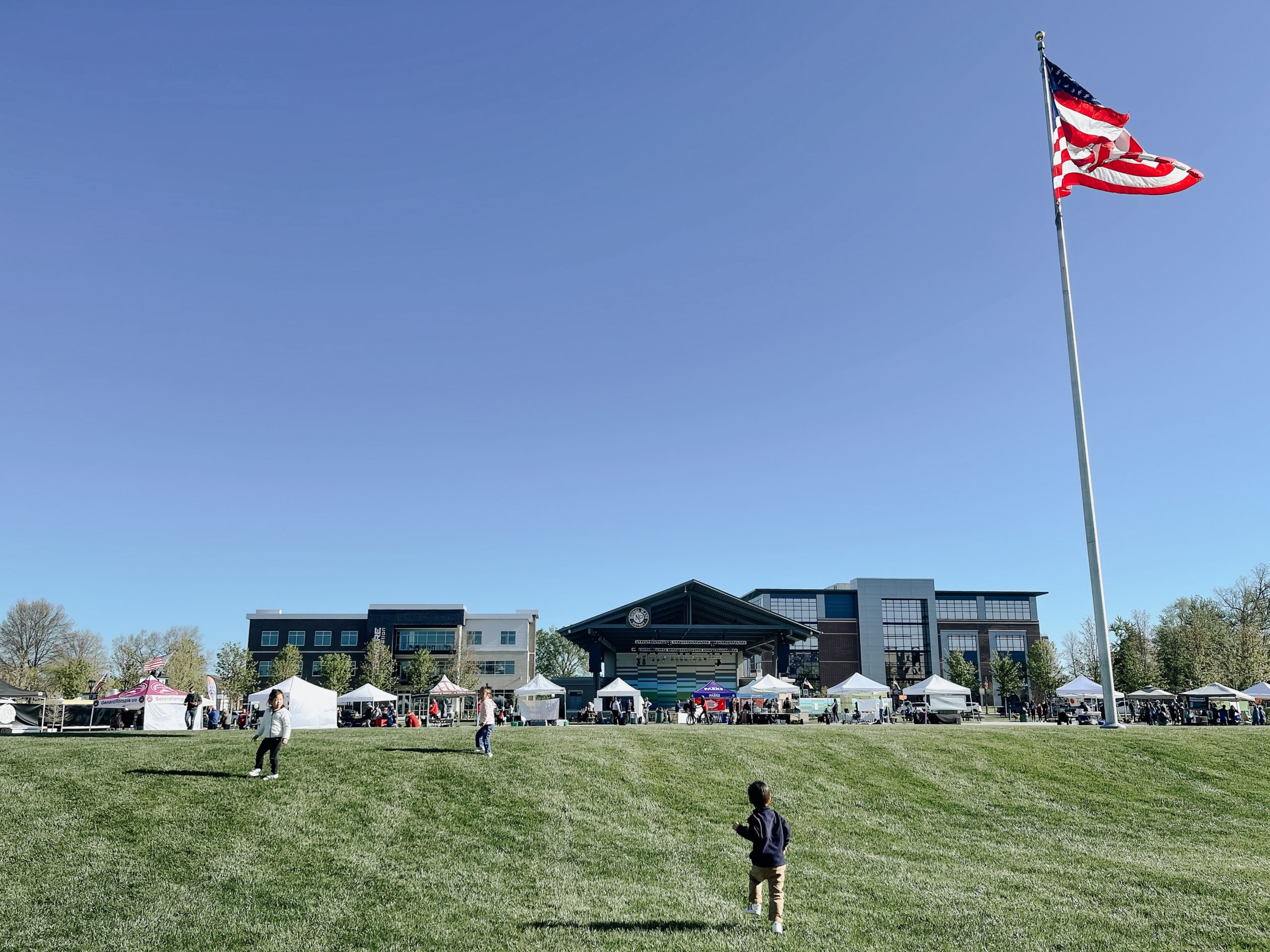 a far away view of the fishers farmers market