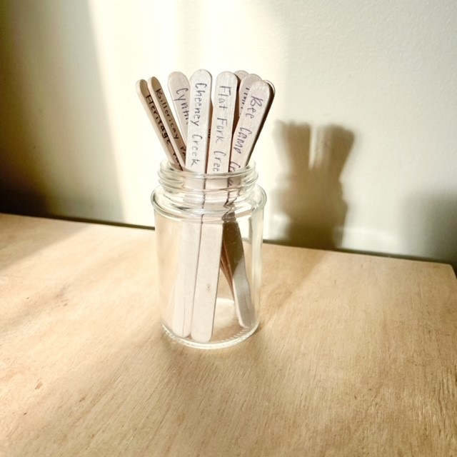 wooden popsicle sticks in a clear jar sitting on top of a table