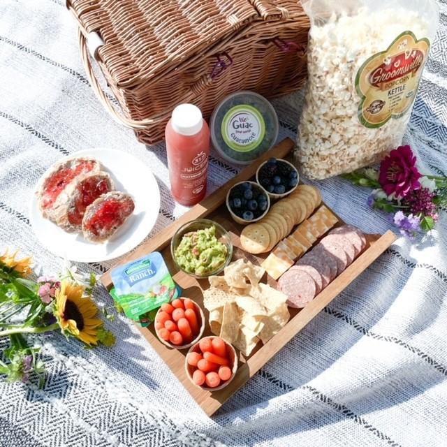 a flat lay of a picnic