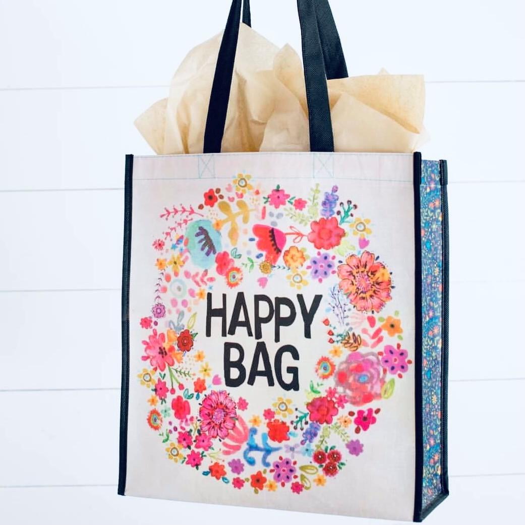 "a bag that says ""happy bag"""