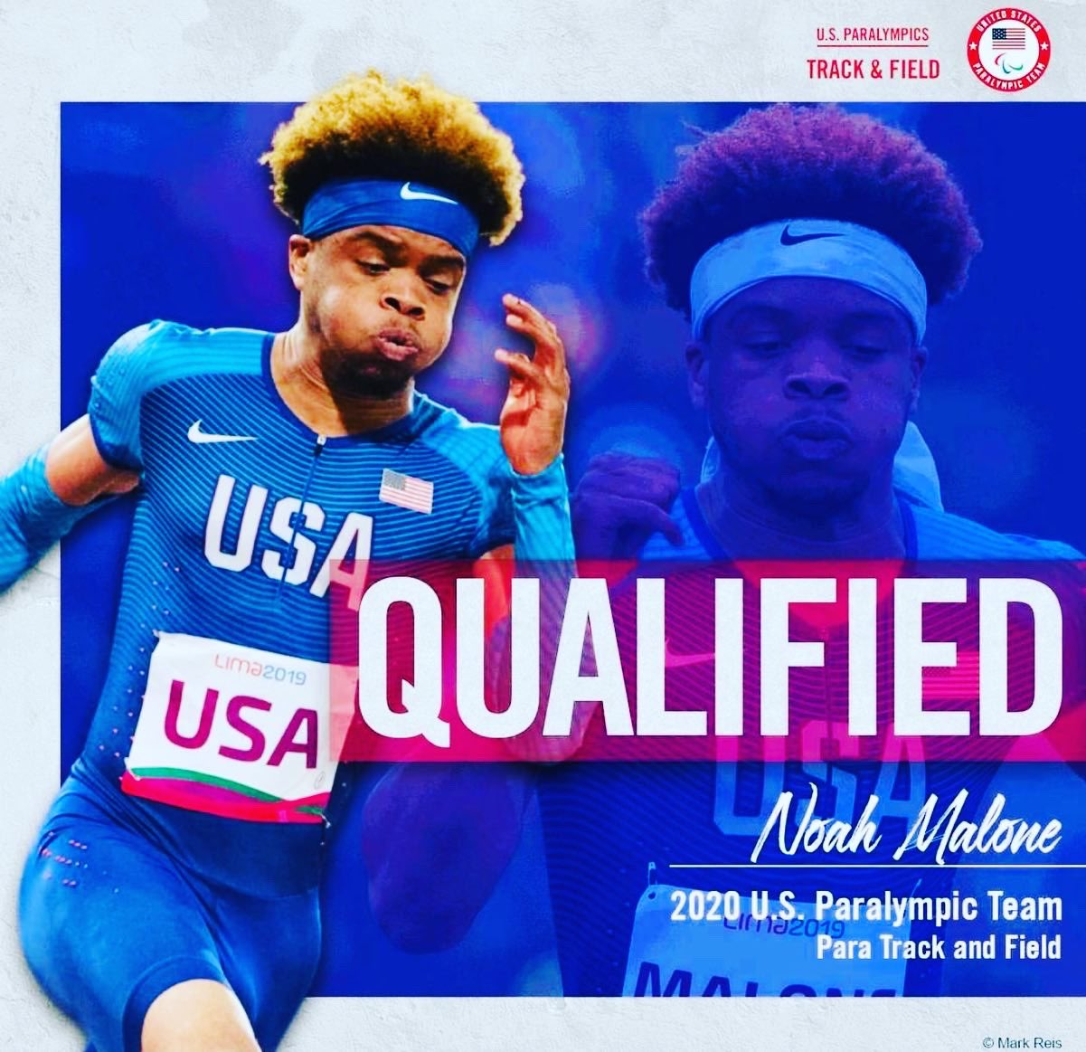 """a track and field runner in front of a graphic that says, """"qualified noah malone 2020 u.s. paralympic team para track and field"""""""