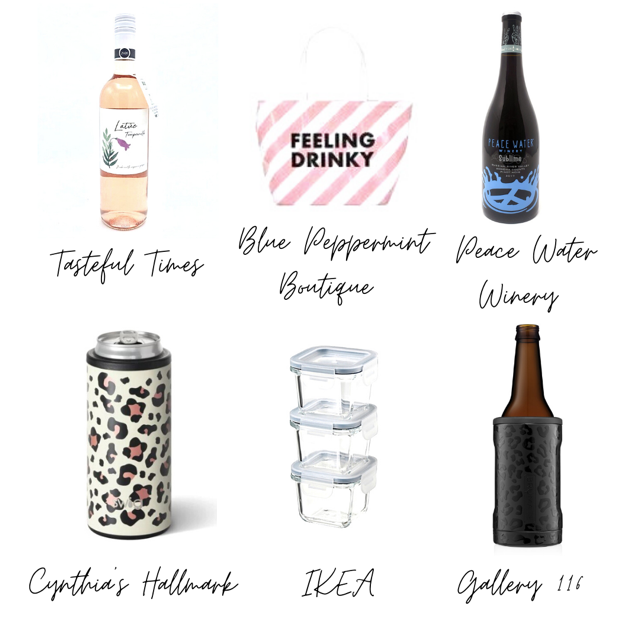 a picture of six items. the first being wine from tasteful times, the second is a bag that says feeling drinky from blue peppermint boutique, the third is a bottle of wine from peace water winery, the fourth is a drink koozie from cynthia's hallmark, the fifth are clear containers from ikea, the sixth is a beer koozie from gallery 116