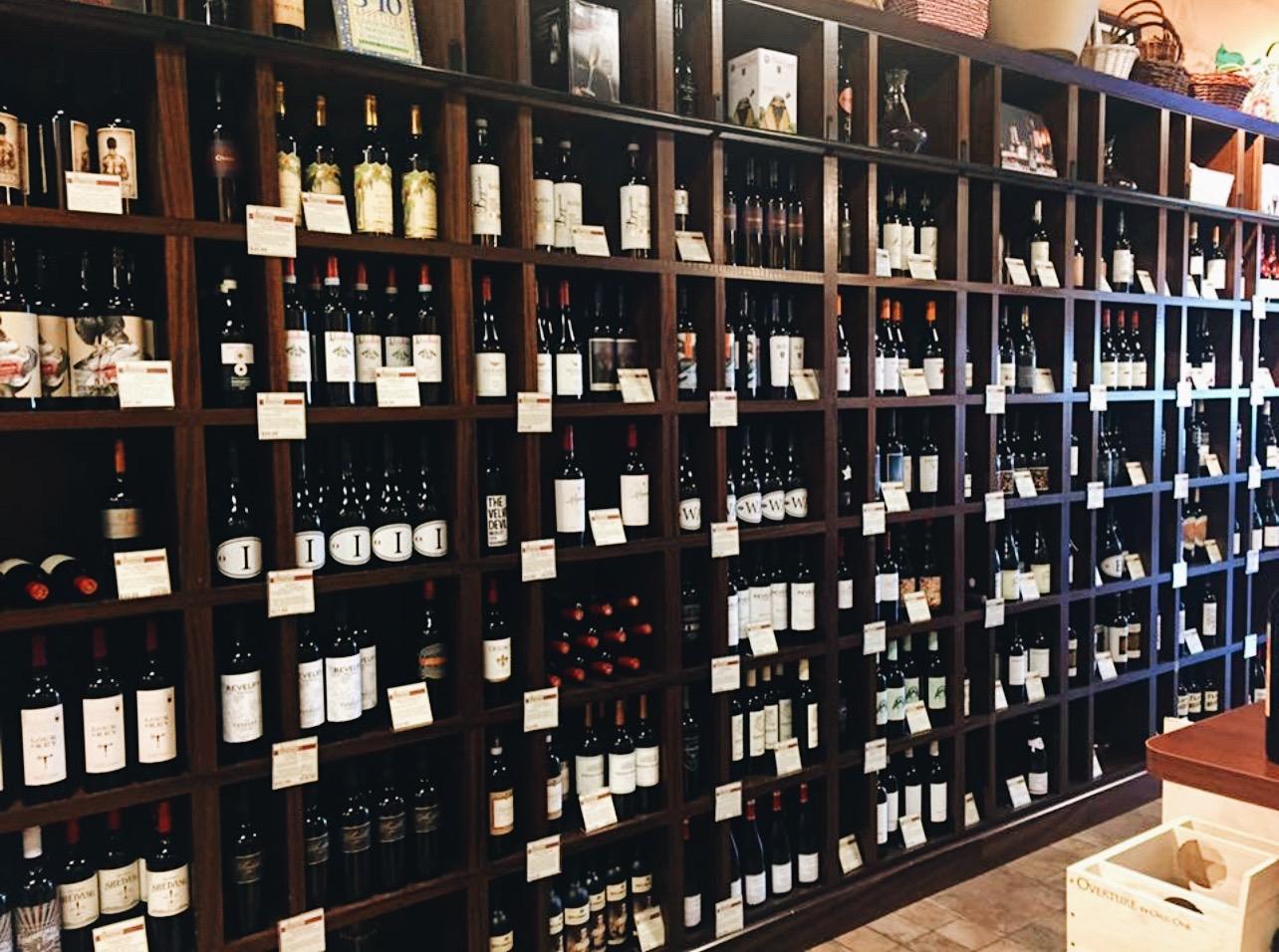 shelves filled with bottled wine