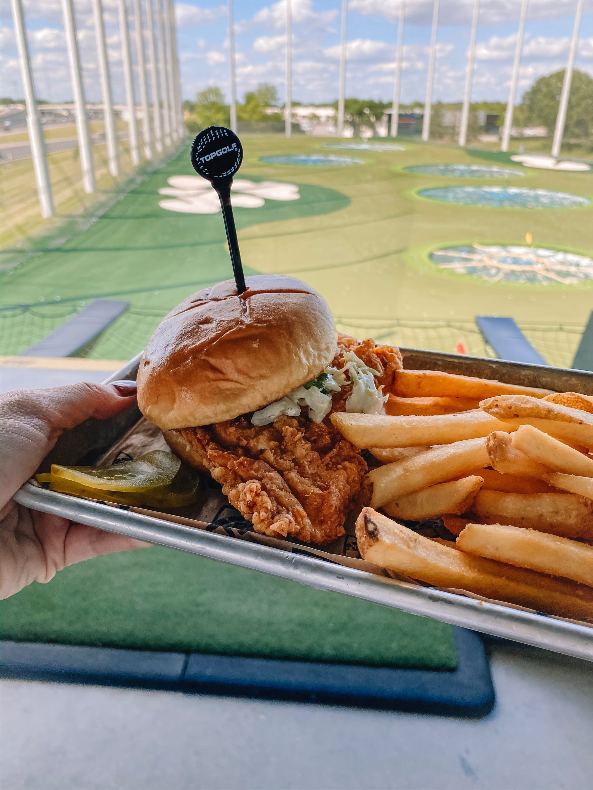 a hand holding up a tray of food which includes a fried chicken sandwich and french fries