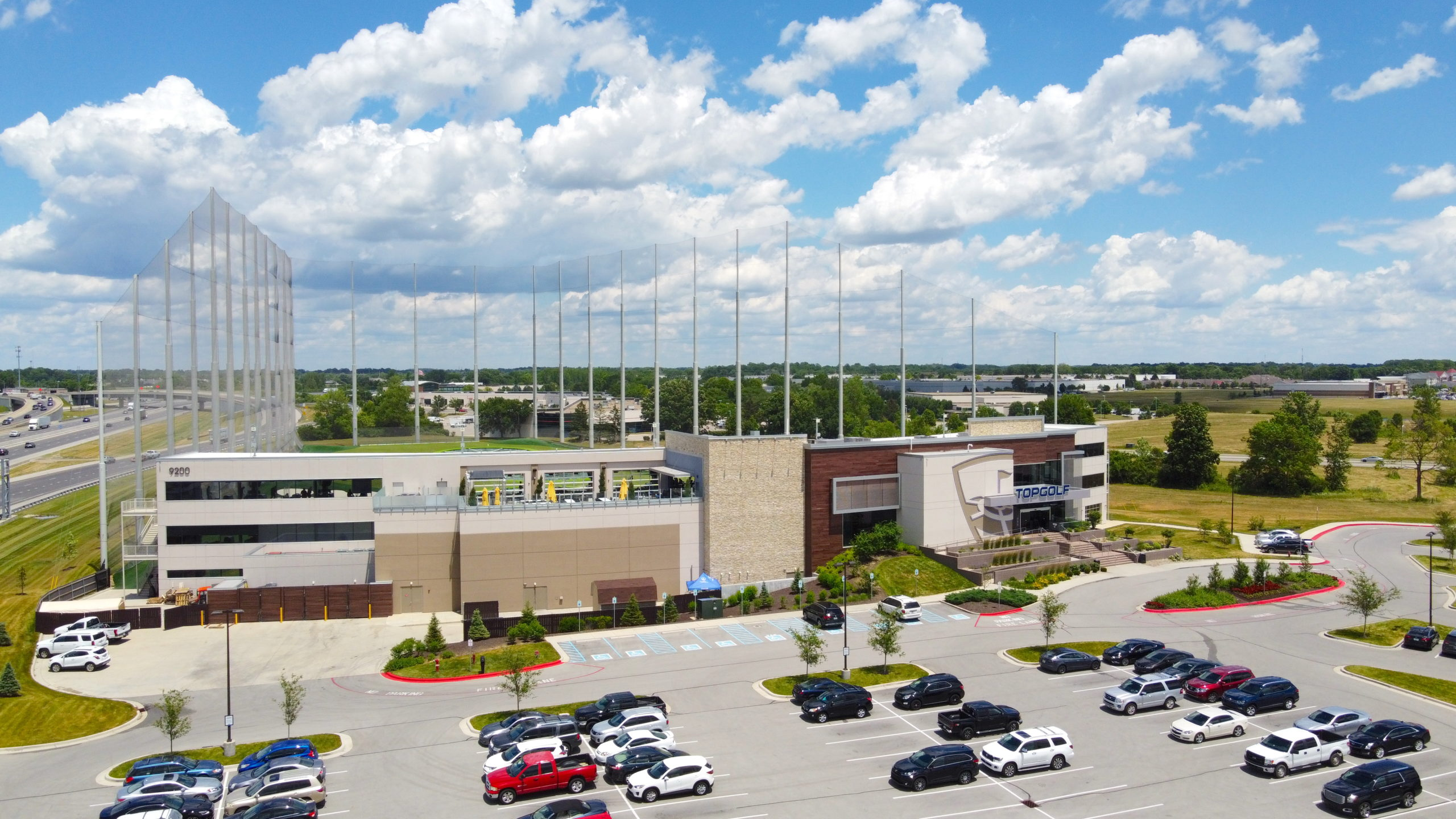 the outside of topgolf
