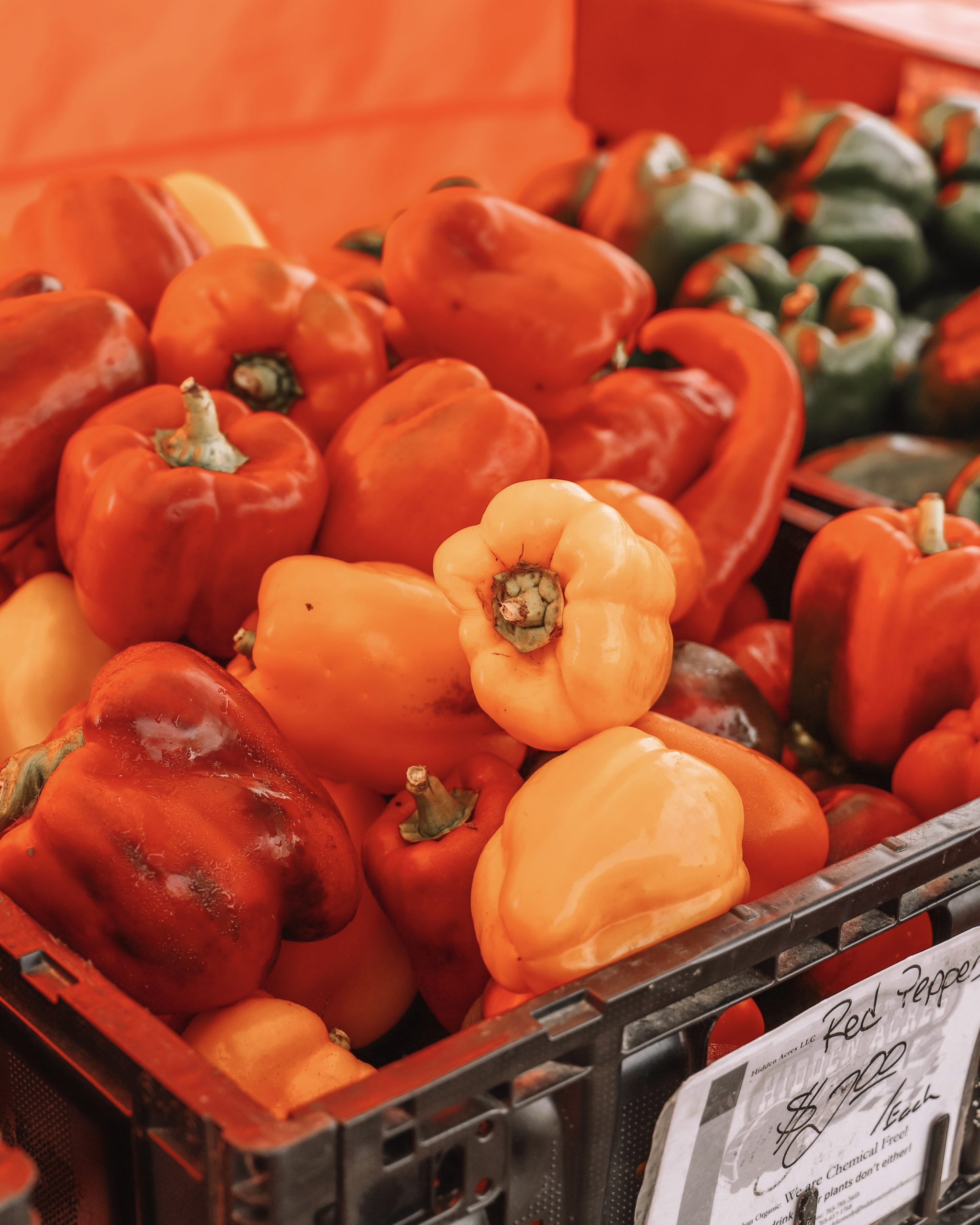 a basket of bell peppers