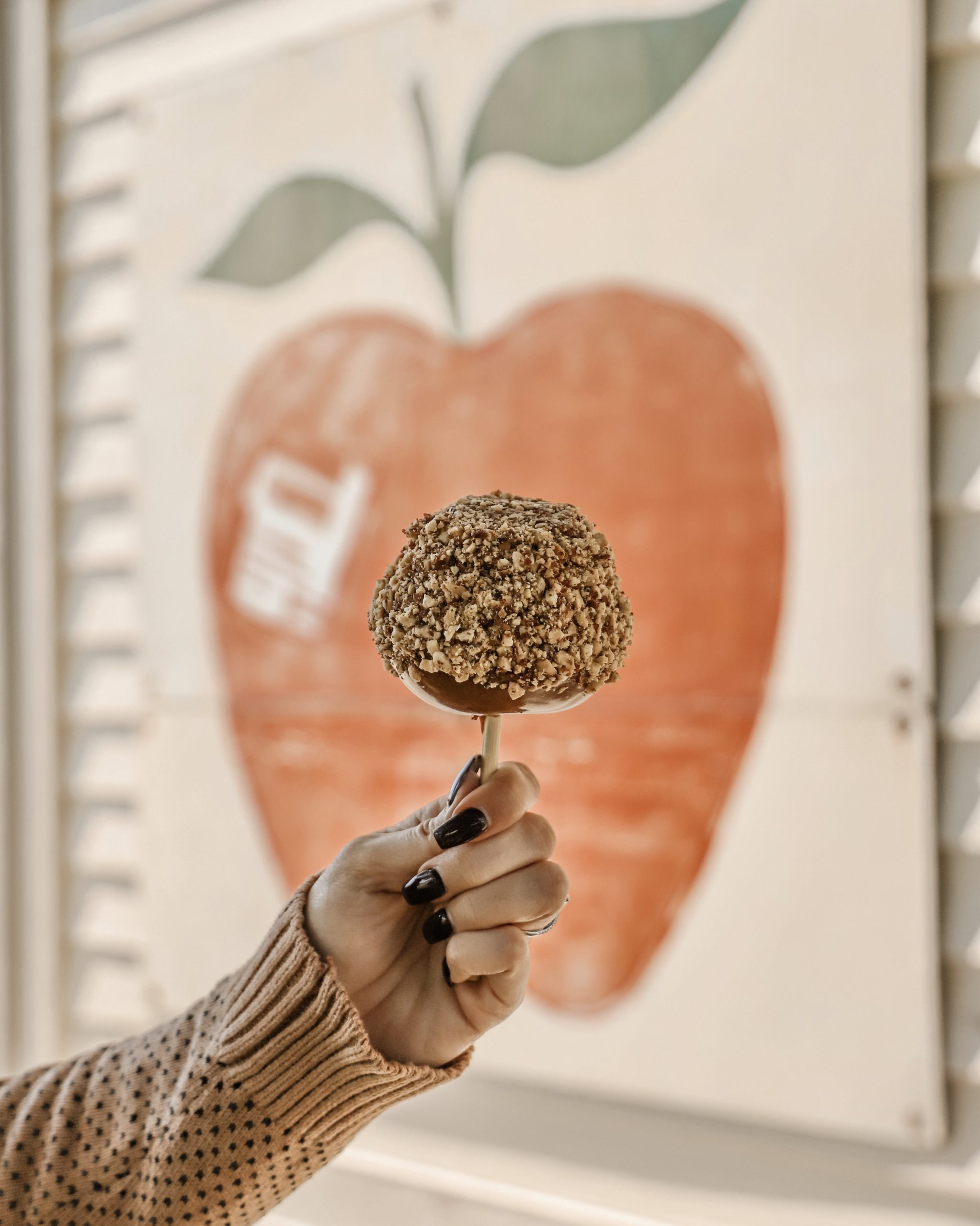 a hand holding a caramel apple with nuts