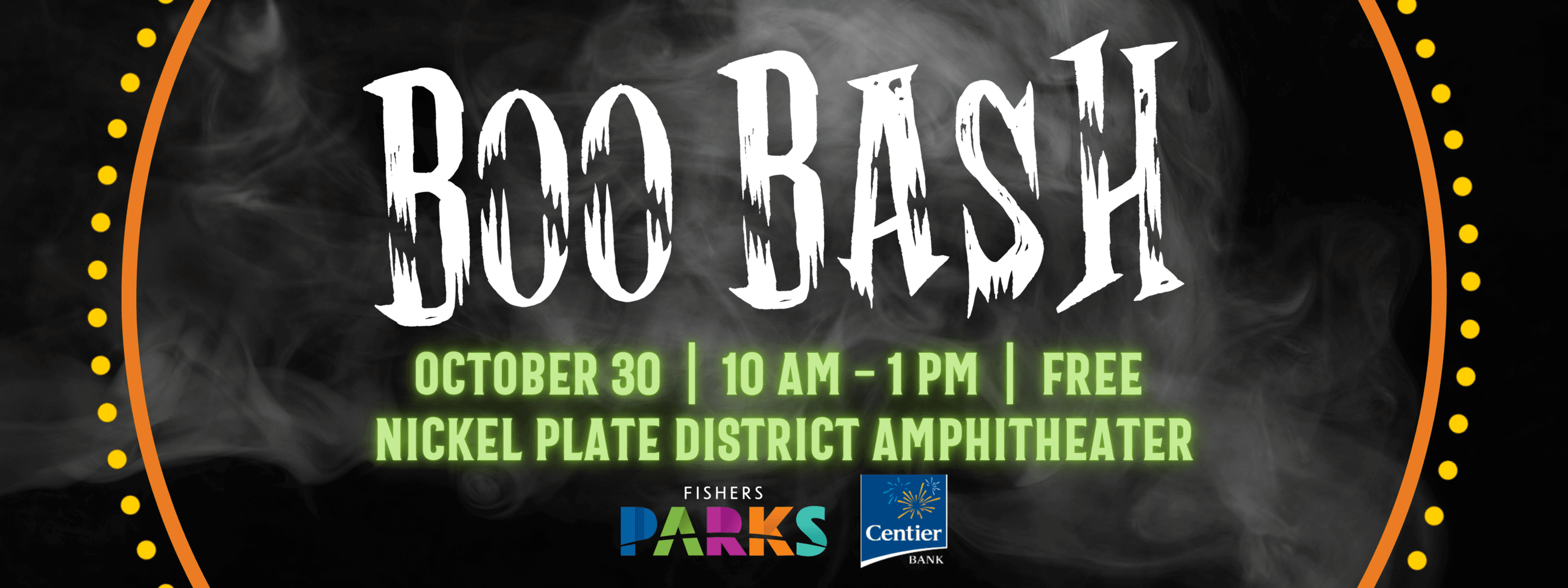 boo bash. october 30,. 10 am - 1 pm, free, nickel plate district amphitheater