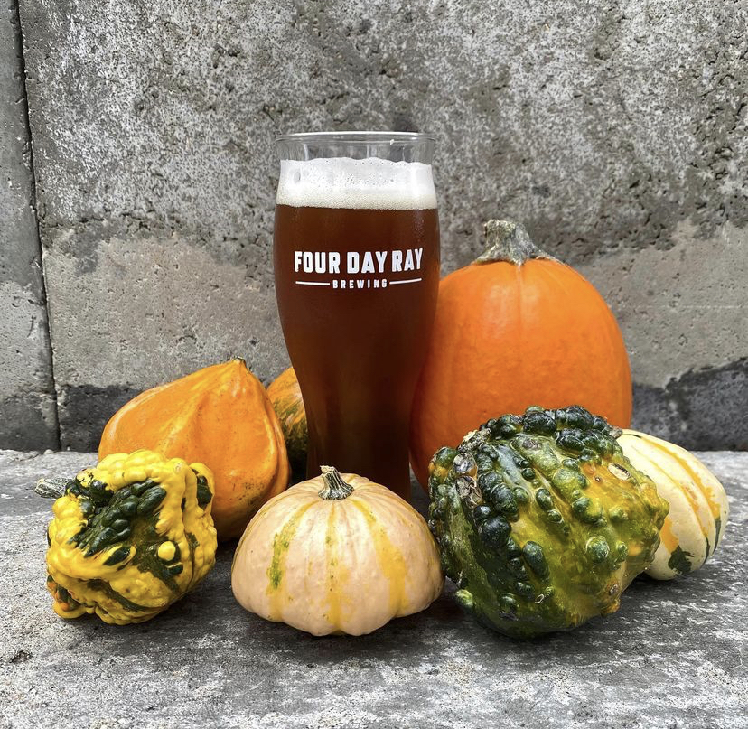 a glass of beer surrounded by pumpkins and gourds
