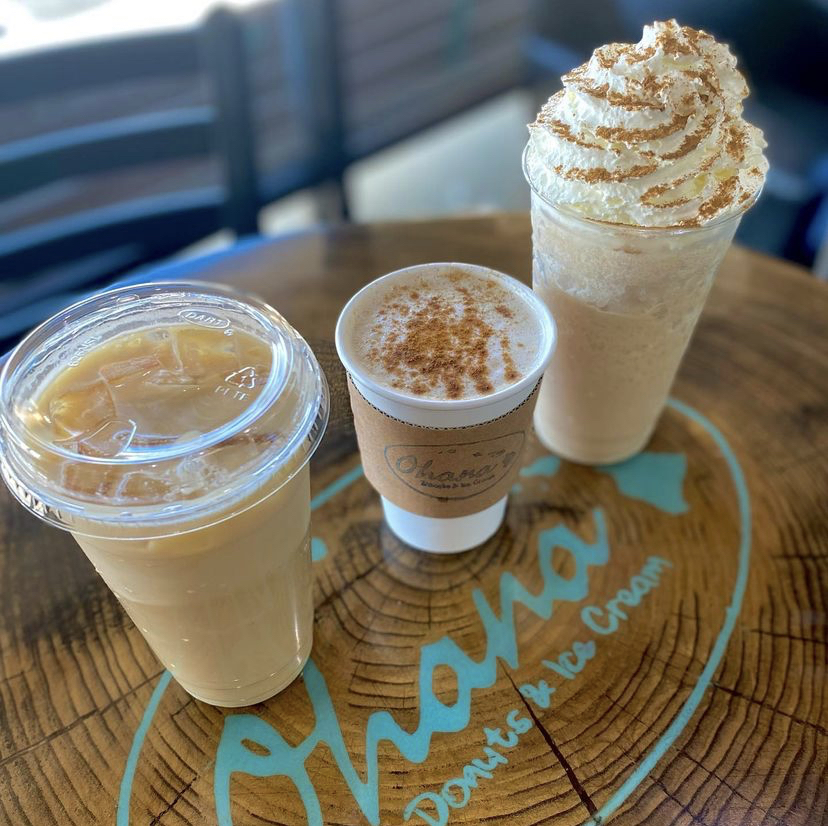 three coffee drinks on a table