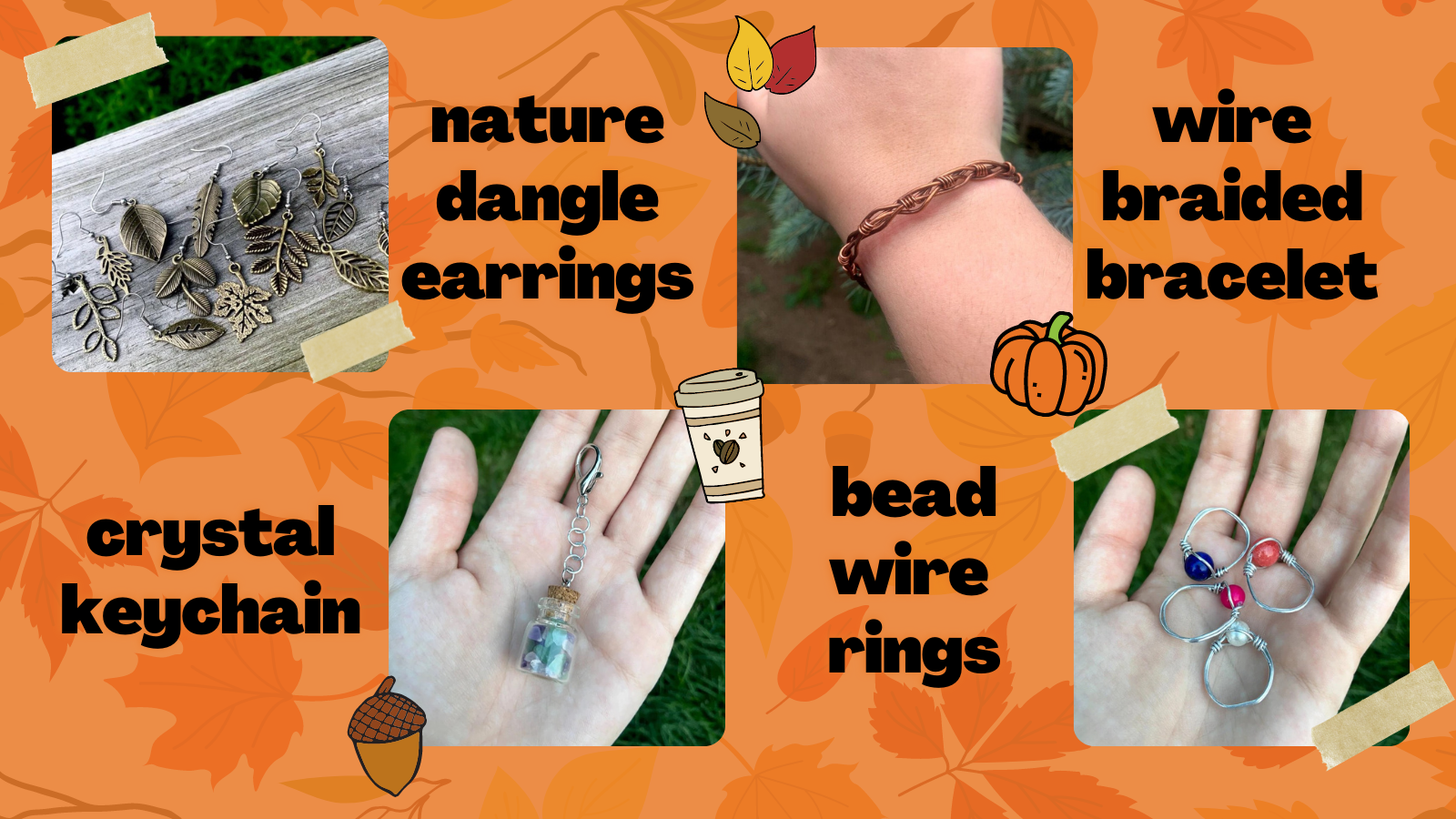 a collage of four pictures of jewelry and accessories. crystal keychain, nature dangle earrings, bead wire rings and wire braided bracelet