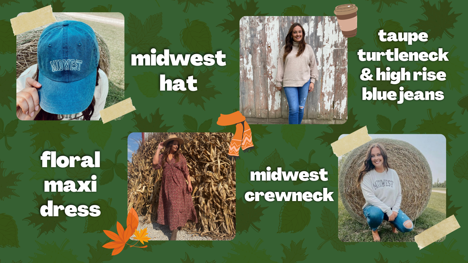 a collage of clothing items. floral maxi dress, midwest hat, midwest crewneck and taupe turtleneck & high rise blue jeans