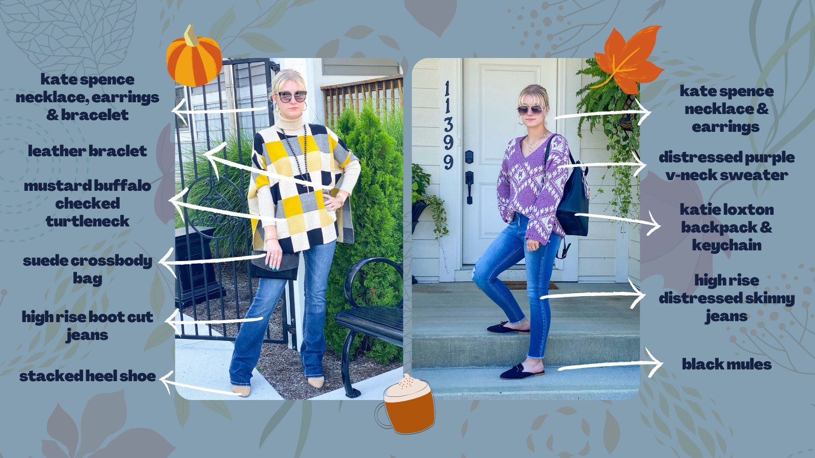 two photos of a woman wearing a sweater with jeans